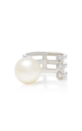 Sterling Silver, Diamond and Pearl Ring by Lynn Ban Jewelry | Moda Operandi