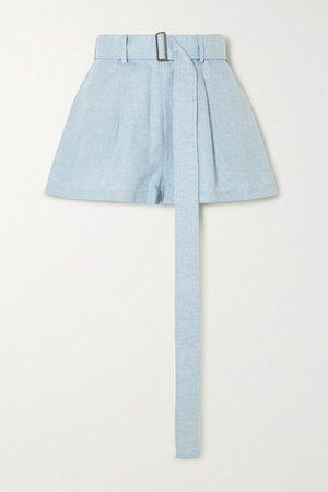 Belted Linen Shorts - Sky blue