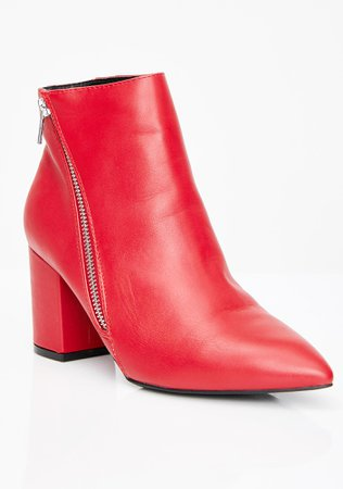 Asymmetrical Side Zip Ankle Boots Red | Dolls Kill