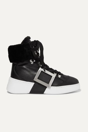 Skate Embellished Shearling-trimmed Leather Sneakers - Black