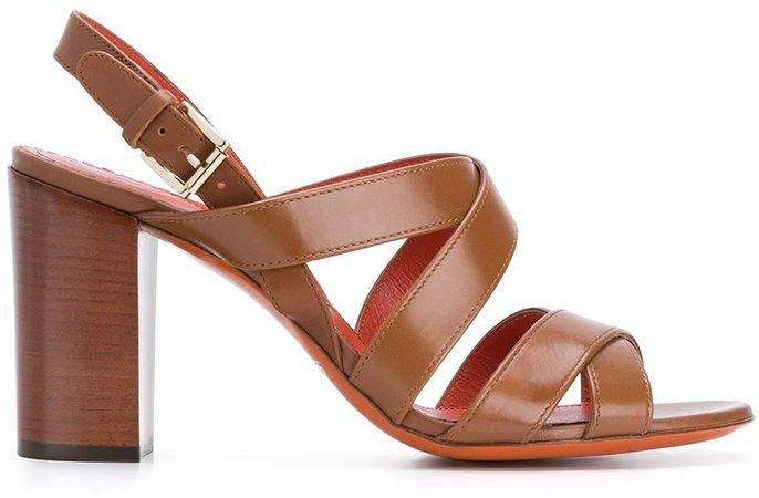 Cross-Strap Block-Heel Sandals