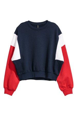 Block-coloured sweatshirt | Dark blue/Block-coloured | LADIES | H&M ZA