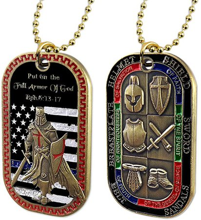 Put on the Whole Armor of God Dog Tag Pendant Necklace   Amazon.com