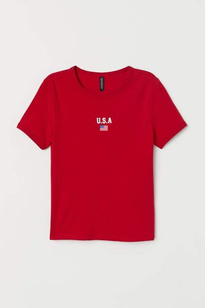 Jersey Top with Printed Design - Red