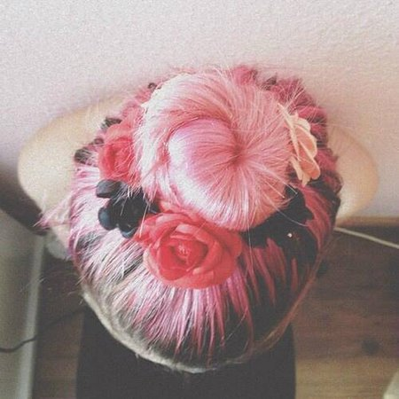 Pink Hair- Flower Bun