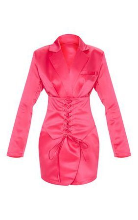 Hot Pink Woven Corset Waist Blazer Dress   PrettyLittleThing