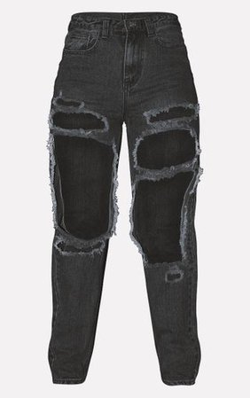PRETTYLITTLETHING Washed Black Open Thigh Mom Jean   PrettyLittleThing