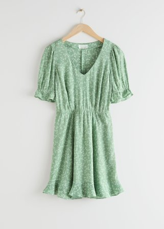 V-Neck Puff Sleeve Mini Dress - Green Florals - Mini dresses - & Other Stories