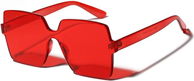 Amazon.com: Oversized Square Candy Colors Transparent Lens Rimless Frame Unisex Sunglasses: Clothing