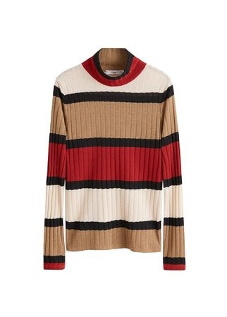 MANGO Ribbed high neck t-shirt