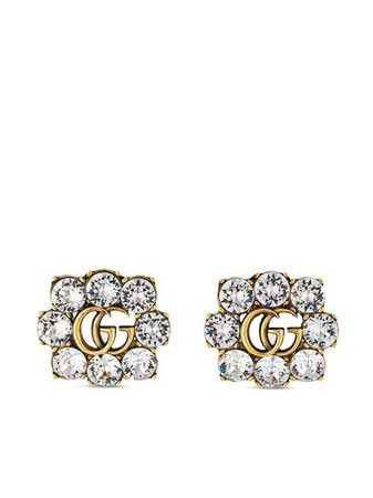 Shop gold Gucci Double G crystal earrings with Express Delivery - Farfetch