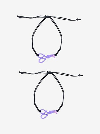Purple Scissors Best Friend Cord Bracelet Set