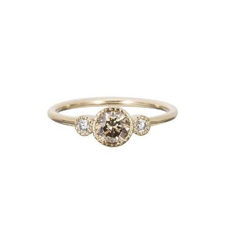 Champagne Diamond Round Ring
