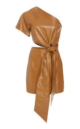 large-zeynep-arcay-brown-one-shoulder-leather-dress — imgbb.com