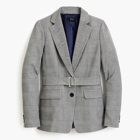 J.Crew: Belted Blazer In Glen Plaid grey