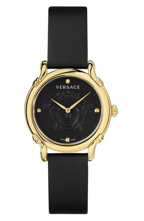 Versace Medusa Embossed Leather Strap Watch, 34mm | Nordstrom