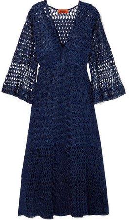Reversible Metallic Crochet-knit Dress - Navy