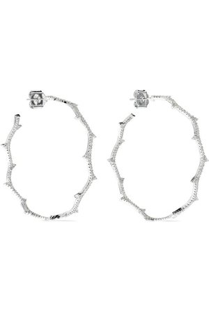 Vine rhodium-plated crystal hoop earrings | CZ by KENNETH JAY LANE | Sale up to 70% off | THE OUTNET