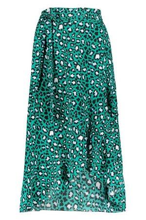 Petite Tie Front Animal Ruffle Midaxi Skirt   Boohoo