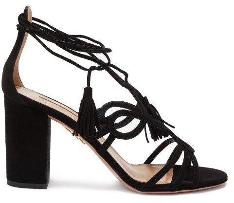 Gitana 85 Block-heel Suede Sandals - Black
