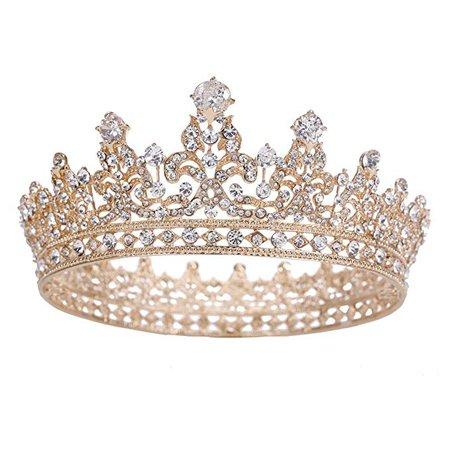Amazon.com: Stuff Zircon Crystal Rhinestone Bridal Tiara Crown Wedding Hair Accessories Bride Princess Full Crown (Gold-Plated): Clothing