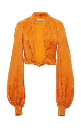 Knotted Cropped Satin-Jacquard Blouse by The Attico | Moda Operandi