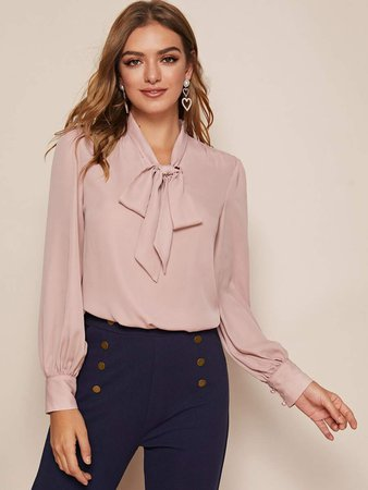 Tie Neck Solid Blouse | SHEIN USA
