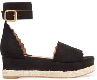 Lauren Scalloped Suede Espadrille Platform Sandals - Black