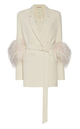 Belted Feather-Detail Crepe Blazer By Lapointe | Moda Operandi