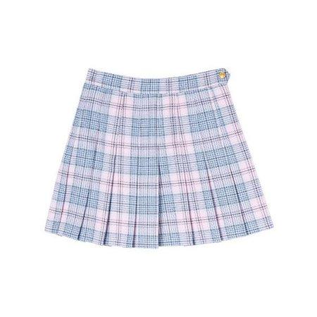 blue pink skirt plaid