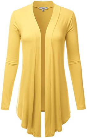 LALABEE Women's Draped Open-Front Long Sleeve Light Weight Cardigan-Yellow-XL at Amazon Women's Clothing store