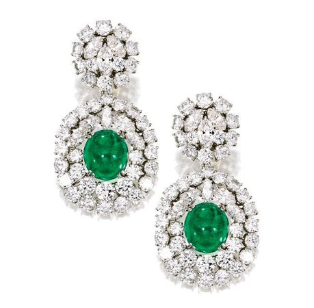 A Pair of Platinum, Emerald and Diamond Earclips, Verdura