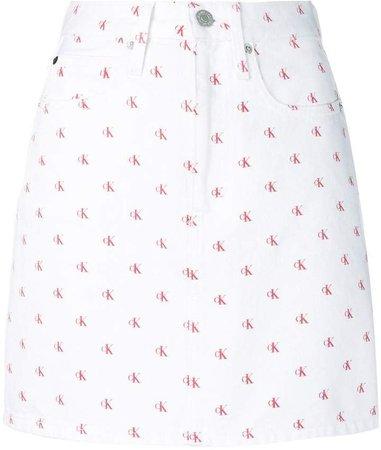 monogram print skirt