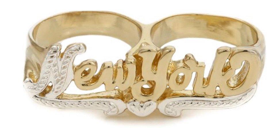 New York two finger ring