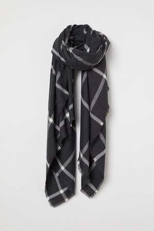 Large Scarf - Dark gray melange/checked - Ladies | H&M US