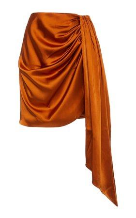 Mae Draped Satin Mini Skirt by Jonathan Simkhai | Moda Operandi