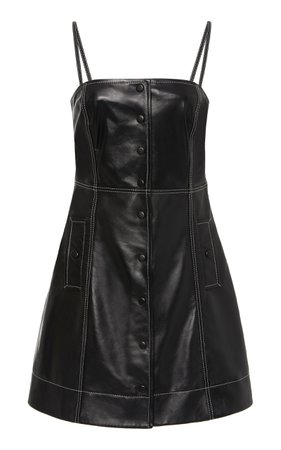 Top-Stitched Leather Mini Dress by Ganni