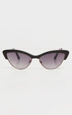 Black Half Frame Cat Eye Sunglasses | PrettyLittleThing USA