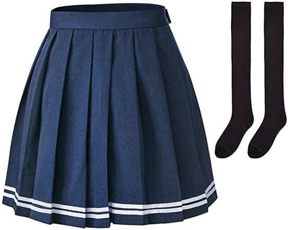Amazon.com: Elibelle Women's Japan High Waisted Tartan Pleated Dance Cosplay Costumes Skirt with Socks: Clothing