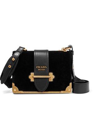 Prada | Cahier leather-trimmed velvet shoulder bag | NET-A-PORTER.COM