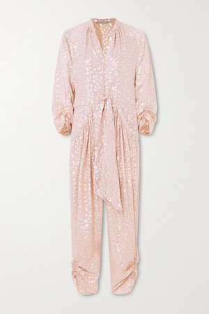 Tie-front Ruched Metallic Fil Coupe Silk-blend Jumpsuit - Pink