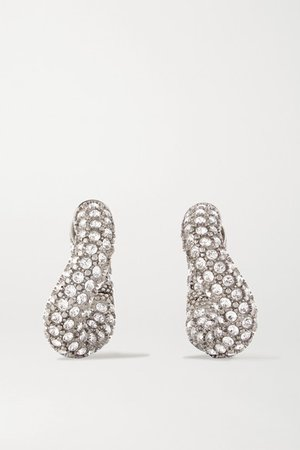 Balenciaga | Loop crystal-embellished silver-tone hoop earrings | NET-A-PORTER.COM