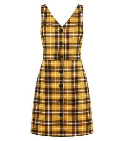 Yellow Check Button Through Pinafore Dress | New Look