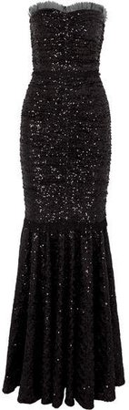Sequined Stretch-tulle Gown - Black
