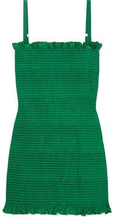 Molly Goddard - Lowell Ruched Seersucker Mini Dress - Forest green