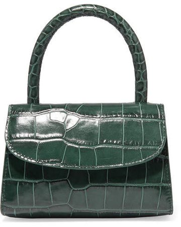 Mini Croc-effect Leather Tote - Green