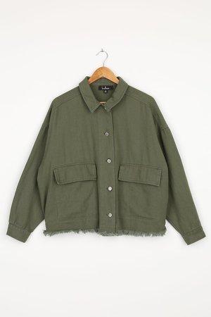 Twill Shacket - Olive Green Shirt Jacket - Oversized Shirt Jacket - Lulus