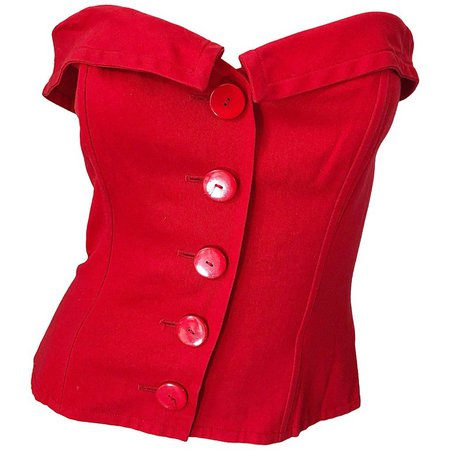 Vintage Yves Saint Laurent Sz 40 / 8 Lipstick Red Strapless Bustier Corset Top For Sale at 1stdibs
