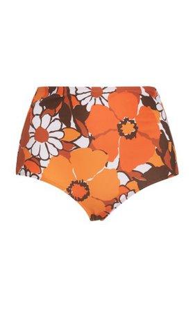 Marina Printed High-Rise Bikini Bottom By Faithfull The Brand   Moda Operandi
