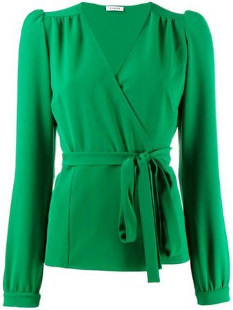 P.A.R.O.S.H. tie waist blouse green PIRATYXD311182 - Farfetch